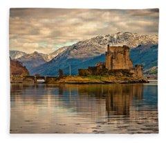 A Reflection At Eilean Donan Castle Fleece Blanket