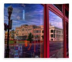 A Reflection Of Wausau's Grand Theater Fleece Blanket