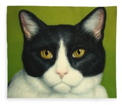 A Serious Cat Fleece Blanket