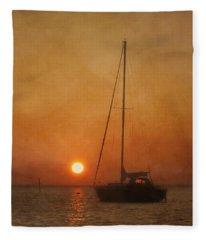 A Ship In The Night Fleece Blanket