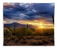A Sonoran Desert Sunrise Fleece Blanket