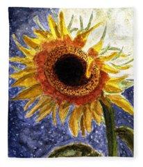 A Sunflower In The Moonlight Fleece Blanket