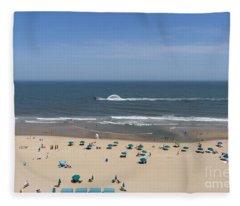 A Touring Speedboat Passes By Shore In Ocean City Maryland Fleece Blanket
