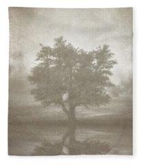 A Tree In The Fog 3 Fleece Blanket