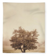 A Tree In The Fog Fleece Blanket