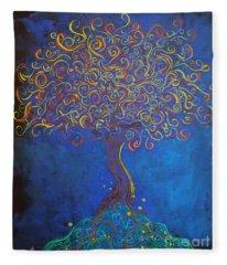 A Tree Of Orbs Glows Fleece Blanket