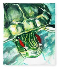 A Turtle Who Likes To Eat Fish Fleece Blanket