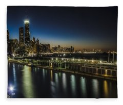 A Unique Look At The Chicago Skyline At Dusk Fleece Blanket