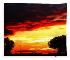 A Very Late Sun Fleece Blanket