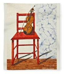 A Violin In Repose Watercolor Painting Art Fleece Blanket