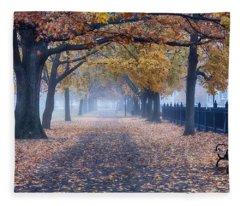 A Walk In Salem Fog Fleece Blanket