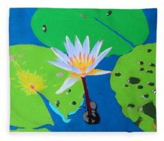 A Water Lily In Its Pad Fleece Blanket