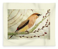 A Waxwing In The Orchard Fleece Blanket