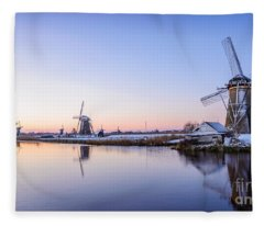 A Cold Winter Morning With Some Windmills In The Netherlands Fleece Blanket