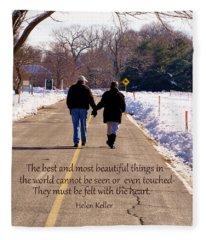A Winter Walk/inspirational Fleece Blanket