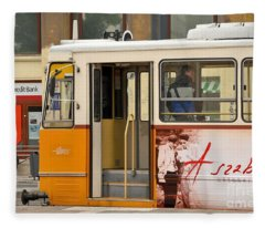 A Yellow Tram On The Streets Of Budapest Hungary Fleece Blanket
