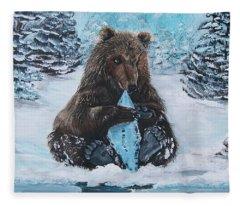 A Young Brown Bear Fleece Blanket