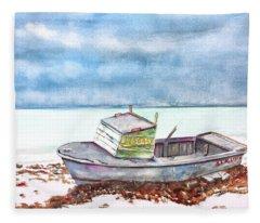 Abandoned Beached Wood Boat Fleece Blanket