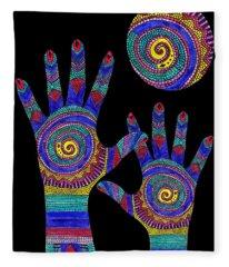 Aboriginal Hands To The Sun Fleece Blanket