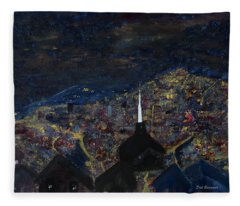 Above The City At Night Fleece Blanket