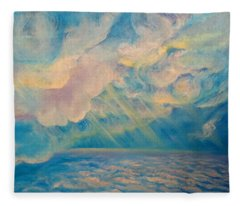 Above The Sun Splashed Clouds Fleece Blanket
