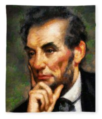 Abraham Lincoln - Abstract Realism Fleece Blanket