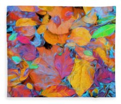 Abstract Autumn Leaves Fleece Blanket
