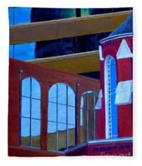 Abstract City Downtown Shreveport Louisiana Urban Buildings And Church Fleece Blanket