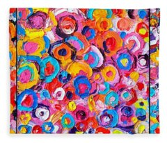 Abstract Colorful Flowers Triptych  Fleece Blanket