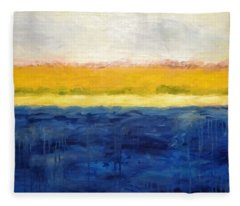 Abstract Dunes With Blue And Gold Fleece Blanket