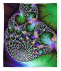 Abstract Fractal Art Green Purple Jewel Colors Square Format Fleece Blanket