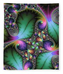 Abstract Fractal Art With Jewel Colors Fleece Blanket