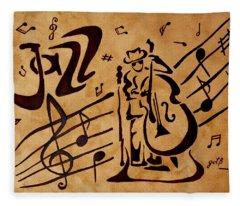 Abstract Jazz Music Coffee Painting Fleece Blanket