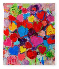 Abstract Love Bouquet Of Colorful Hearts And Flowers Fleece Blanket