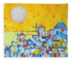 Abstract Santorini - Oia Before Sunset Fleece Blanket