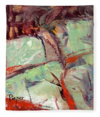 Abstract With Cadmium Red Fleece Blanket