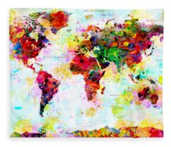 Abstract World Map Fleece Blanket