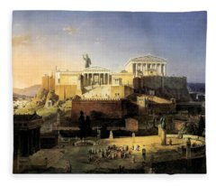 Acropolis Of Athens Fleece Blanket
