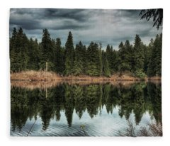 Across The Lake Fleece Blanket