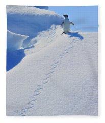Adelie Penguin On Bergie Bit Fleece Blanket