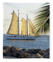 Sailing On The Adirondack In Key West Fleece Blanket