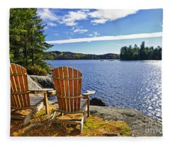 Adirondack Chairs At Lake Shore Fleece Blanket