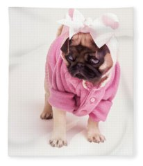 Adorable Pug Puppy In Pink Bow And Sweater Fleece Blanket