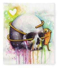 Adventure Time Jake Hugging Skull Watercolor Art Fleece Blanket