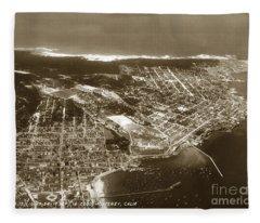 Aerial  Of Monterey Calif. Oct. 25 1934 Fleece Blanket