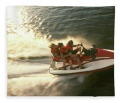Aerial View A Family Racing Fleece Blanket