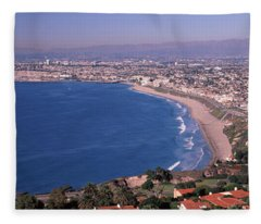Aerial View Of A City At Coast, Santa Fleece Blanket