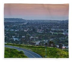 Aerial View Of A City Viewed Fleece Blanket