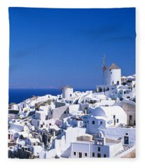 Aerial View Of Houses In A Town, Oia Fleece Blanket