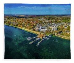Aerial View Of Lake Geneva, Walworth Fleece Blanket